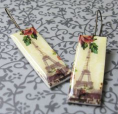 Springtime in Paris Earrings by Missbluebirdandoscar on Etsy