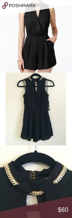 XOXO Chain Romper Black, High Neckline, Front Cutout, Metal Chain Details, Front Off-Seam Pockets & Back Zipper Closure. Material: 100% Polyester TRADING PAYPAL MODELING XOXO Dresses