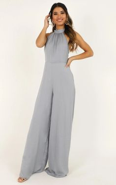 Complete your look with the Leaves Falling Jumpsuit In Dove Blue Satin from Showpo! Formal Jumpsuit, Wedding Jumpsuit, Halter Jumpsuit, Maid Of Honour Dresses, Maid Of Honor, Elegante Jumpsuits, Blue Jumpsuits, Blue Satin, Gray Dress