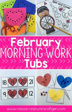 February Morning Work Tubs | Here is a pack of 20 morning tub activities for your Kindergarten students. You'll need a few supplies - like pipe cleaners, playdough, and counting bears - but then you're ready for great learning to take place all month. You get word building, clip it cards, transferring, cutting, tracing, uppercase & lowercase letters, missing numbers, onset/rime, ten frames, counting, 2D shapes, addition, subtraction, AND MORE! Kindy approved!