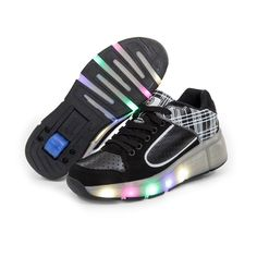 Retractable Child Girls Adult Boys Wheel Roller Skate Shoes With/Without  Led Black White With M Eu