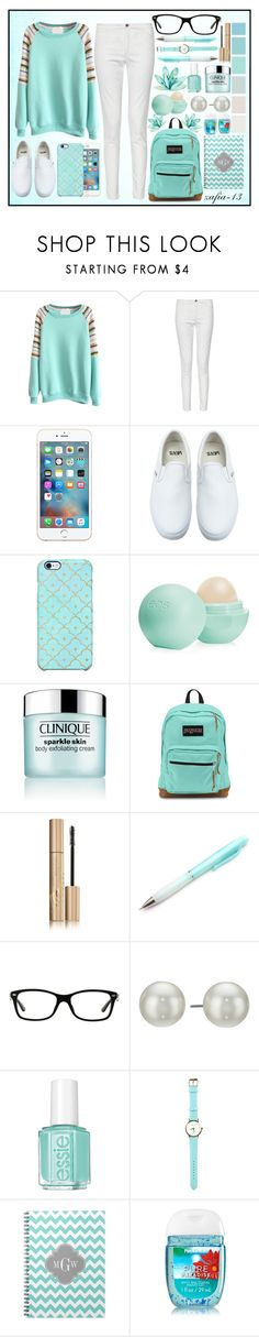 """""""Sweet Mint Glaze"""" by zafia-13 ❤ liked on Polyvore featuring French Connection, Vans, Uncommon, Eos, Clinique, JanSport, Stila, Ray-Ban, Seed Design and Kenneth Jay Lane"""