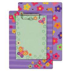Stephen Joseph Clipboard with Notepad Butterfly — The durable clipboard have fun patterns printed on the front and back and are packaged with a coordinating note pad.
