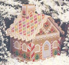 GINGERBREAD HOUSE - Table or Party Decoration - Counted Cross Stitch Pattern for Perforated Paper. $2.50, via Etsy.