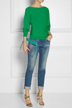 Lanvin | Fine-knit wool sweater | Frame Denim | Le Garcon mid-rise slim boyfriend jeans | Reed Krakoff | Floral-print leather sandals | Jil Sander | Fine Envelope leather-trimmed PVC clutch