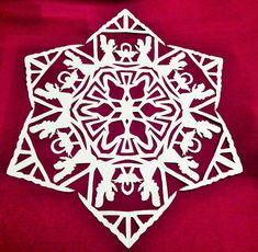 Patterns and instructions to make 10 paper snowflakes, including Angels, Shepherds, Three Kings, and Nativity patterns. The patterns call for 18 inch square paper and finish at about 16 or 17 inches round Paper Snowflake Designs, Snowflake Template, Paper Snowflakes, Christmas Snowflakes, Christmas Paper Crafts, Christmas Projects, Christmas Art, Holiday Crafts, Xmas