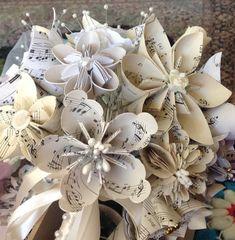 Origami Music Flowers Set of 5 by GracelinePaperStudio on Etsy