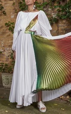 Rainbow Lame Pleated Tie Neck Dress by Rosie Assoulin