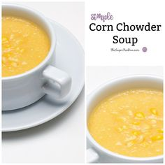 """I'm kicking off my """"Soup Week"""" with this Simple Corn Chowder Soup. I eat a lot of soup- especially during this time of the year.  Simple Corn Chowder Soup I am usually a broth kind of soup person. Broth soup is so easy to pair with other foods such as sandwiches or salads...."""