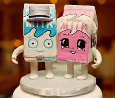 Blur milk carton wedding cake topper. Freaking awesome.