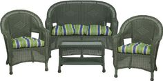 3478 Steel Frame Green Wicker 4 Piece Set with Lakeside Cushions by Flash Furniture. $564.99. Durable corrosion resistant steel frame Handwoven vinyl all-weather wicker Can be used indoor/outdoor Includes matching Loveseat, 2 Chairs, and Coffee Table Also includes matching seat-cushion set as shown Made of eco-friendly materials and CA 117 compliant foam DO NOT USE BLEACH ON THIS PRODUCT Loveseat Dimensions: 49.5''W x 24''D x 36''H Chair Dimensions: 28.5''W x 24''D x 36''H Cof...
