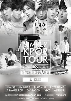 U-Kiss Tour Poster Tour Posters, Movie Posters, U Kiss, G Dragon, Vixx, Pop Group, Boyfriend, Tours, Kpop