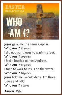 sunday bible verse Easter Bible Trivia Game: Who Am I? Easter Bible trivia can add a lot of competitive fun to an Easter Sunday School lesson or family party. This Who Am I Easter game highlights some of the most popular Easter Bible characters. Sunday School Activities, Sunday School Crafts, Easter Sunday School Lesson, Adult Sunday School Lessons, Ccd Activities, Easter Weekend, Easter Activities, Bible Quiz, Bible Trivia