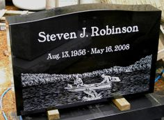India Black granite headstone with laser etched lettering & fishing design