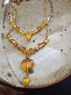 Yellow beaded necklace, double strand handmade necklace, Bohemian jewelry