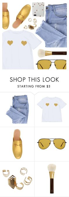"""""""I've got two hearts"""" by deeyanago ❤ liked on Polyvore featuring Essie, Gucci, Quay, Tom Ford and Kate Spade"""