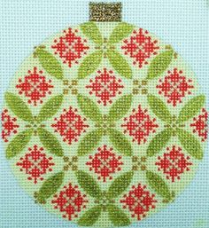 Kirk & Bradley needlepoint canvas - Green Florentine Bauble