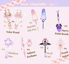 Arte Do Kawaii, Kawaii Art, Anime Weapons, Fantasy Weapons, Kawaii Drawings, Cute Drawings, Desenhos Love, Cute Fantasy Creatures, Sword Design