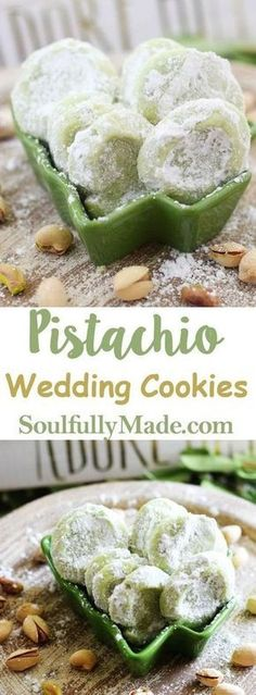 Pistachio Wedding Cookies are soft buttery cookies that are a little sweet a little salty and a whole lot of deliciousness. These melt-in-your-mouth good cookies just might have you reaching into that cookie jar often this Holiday Season. Buttery Cookies, No Bake Cookies, Cookies Et Biscuits, Yummy Cookies, Owl Cookies, Brownie Cookies, Cake Cookies, Köstliche Desserts, Dessert Recipes