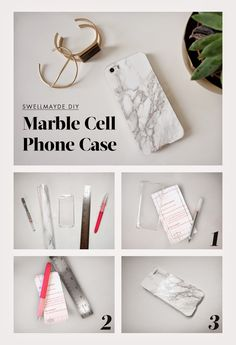 Get Crafty: 10 DIY Phone Case Tutorials to Try Now | StyleCaster I like the marble and stud cases