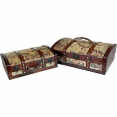 World map decorative antique style wooden storage box home decor quickway imports old world map treasure chests set of 2 decorative trunksdecorative storage boxesold gumiabroncs Image collections