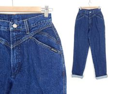 a81b394d3fa Vintage 90s High Waisted Rockie Mom Jeans - Size 8 LONG - Baggy Tapered V  Yoke Waist Dark Blue Women s Rockies Jeans - 27 Waist