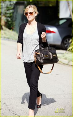 Reese Witherspoon - she's just so timelessly classy - black slacks, tee, cardigan, flats