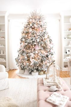 Living Room Christmas Tour 2018 - A Darling Daydream Flocked Christmas Trees Decorated, Rose Gold Christmas Decorations, Pink Christmas Tree, Christmas Room, Holiday Decor, Xmas Tree, Christmas Tree Inspiration, Christmas Ideas, Farmhouse Christmas Decor