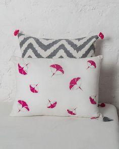 Frangipani Embroidered Cushion - Fuchsia