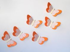 Dreamsicle Paper & Burlap Butterflies/Orange Nursery Decor/Nursery Wall Art/Orange Butterfly/3D Paper Butterflies/Orange Paper Butterflies