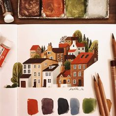 Watercolor Sketchbook, Watercolor Drawing, Art Sketchbook, Painting & Drawing, Watercolor Paintings, Art And Illustration, Watercolor Illustration, Illustrations, Pretty Art