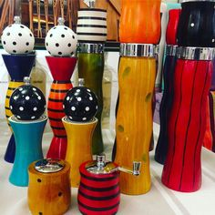 Truly unique pepper mills and salt shakers. Featured in numerous home magazines. Handmade and hand painted by US artist  Bob Wilhelm. In Canada exclusively at Lemonceillo Home. Come visit us in Inglewood - open today noon to 4pm.
