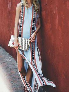 Elegant Bohemia White Sleeveless Side Split Loose Maxi Dress