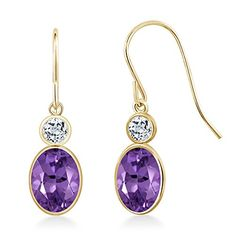 Promise Rings Simple | 178 Ct Oval Purple Amethyst White Topaz 14K Yellow Gold Earrings ** Be sure to check out this awesome product.(It is Amazon affiliate link) #stripes