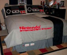 LOL!! I think my husband would like this even more than my son! Nintendo NES bedroom