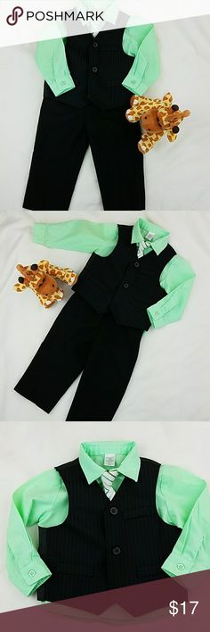 George Boy Matching suit set black & Green George Boy Matching suit set black & Green 4 pieces matching suit set  Black color with thin green stripes on vest.  Shirt is lime green Pant is black Size: 18 months  Gently used but shirt has a small stain. See last pic. George Matching Sets