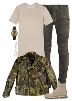 Untitled #1174 by efiaeemnxo on Polyvore featuring polyvore fashion style Timberland Rick Owens Balmain clothing menswear MensFashion sbemnxo styledbyemnxo