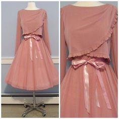 Vintage 70's SHEER Ruffled ROSE FULL SWEEP Dress