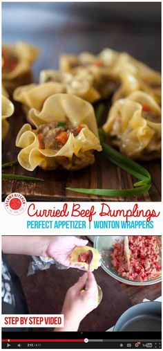 Simple Curried Beef Dumplings appetizer made from wonton wrappers. Recipe is from the host of The Chew, Carla Hall. ~ http://steamykitchen.com