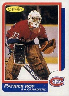 "O-Pee-Chee # 53 Patrick Roy (Montreal Canadiens) ""Novelty"" Rookie Card! Montreal Canadiens, Nhl, Patrick Roy, Saint Patrick, Hockey Cards, Baseball Cards, Goalie Mask, Canada, Hockey Players"