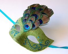 MASK Giddy Green Peacock Halloween fairy Mardi Gras by KMCQdesigns