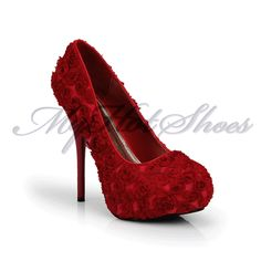 Sexy Rose Buds High Heel Platform Pump Red