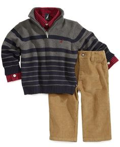 Nautica Baby Set, Baby Boys 3-Piece Sweater, Shirt and Pants - Kids Baby Boy (0-24 months) - Macy's