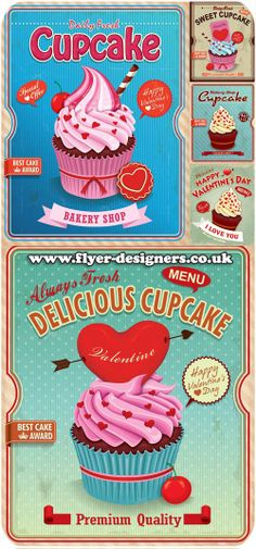 valentines cupcake illustration ideal for valentines flyers www.flyer-designers.co.uk #cupcake #valentines #cupcakeillustration