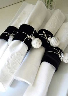 black velvet napkin rings with silver ornaments attached