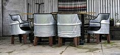 Barrell chairs made from reclaimed 44 gallon steel drums