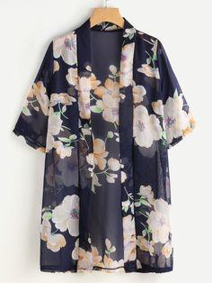 SheIn offers Random Florals Chiffon K… Shop Random Florals Chiffon Kimono online. Kimono Fashion, Modest Fashion, Girl Fashion, Fashion Dresses, Look Kimono, Chiffon Kimono, Kimono Floral, Floral Chiffon, Mode Abaya