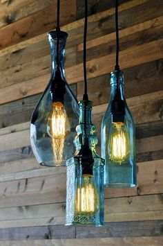 Recycled bottle chandelier The Harmony by MoonshineLamp on Etsy