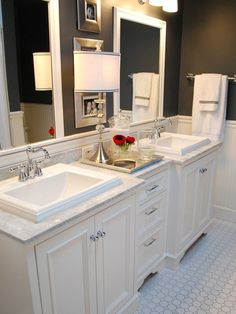 Vanity idea... I thought if it was cheaper to get two small vanities and have Chris build a small center piece with drawers this would be ideal. Plus he can't dirty my side. : | ( No lamp though... What is this a hotel? )