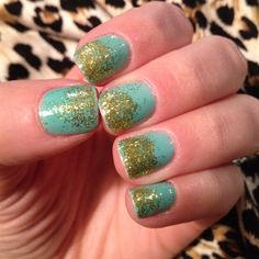 Turquoise glitter tip nails